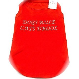Dogs Rule Cats Drool Diamante T-Shirt